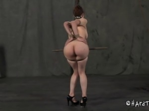 Busty redhead slug lets a kinky couple have some fun with her