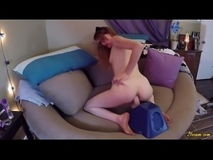 Redhead Fucks Her Ass with Dildo