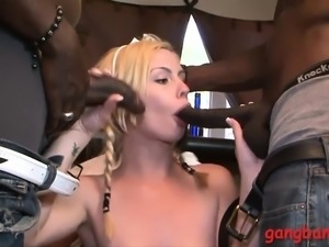 Perky tits babe blowjobs and gangbanged by black dudes