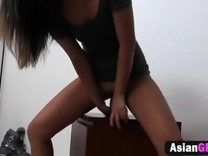 Sexy Asian girlfriend needs a real cock to make her orgasm