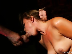 Brunette tart does dirty things and