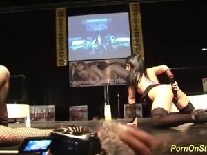 hot busty babes striptease and crazy cocksharing pornshow on public sexfair...