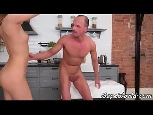Euro beauty anally fucked in gaping asshole