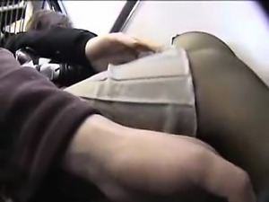 Alluring Oriental girl in pantyhose enjoys a rough drilling