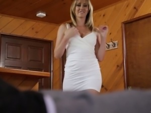 Blonde bitch blows dick of a white guy and rides him on the couch