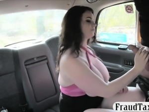 Huge boobs passenger gets screwed real hard in the cab