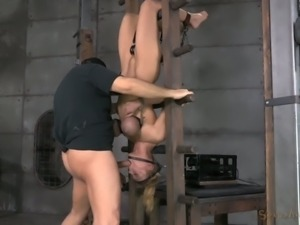 Hanging upside down submissive blonde nympho face fucked rough