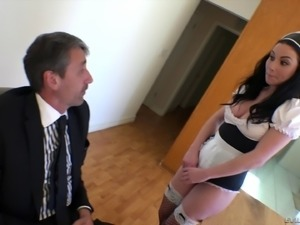 Veruca James makes a mature guy happy with her pussy