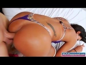 Kinky tranny gets her asshole slammed bareback on the bed