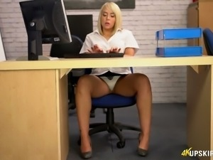 Fabulous blonde office girl flashes her white panties upskirt at work