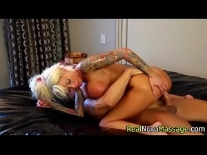 Massage slut sucks cock