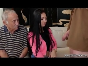 Old whore and young girl with virgin man kitchen Dukke the