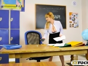 Sexy teacher shows off her big boobs and gets fucked
