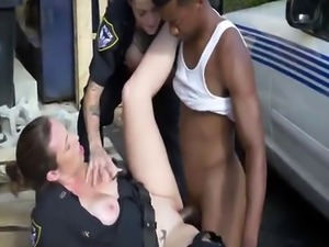 Exhausted brunette cops sexual harassment on big black cock traffic vi
