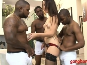 Tight Marley Blaze dped by big black cocks on the couch