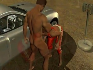 3D stud sucks cock and gets fucked hard at the drive in