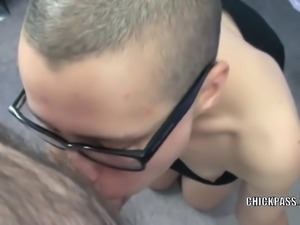 Nerdy slut Shelly keeps her glasses on while sucking dick