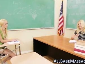 Massaged lesbian teacher