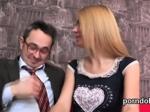 Sweet schoolgirl gets seduced and fucked by her older mentor