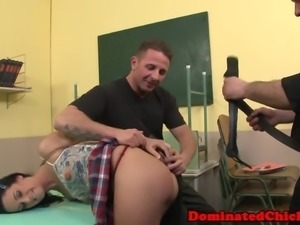 Schoolgirl gets dominated and spanked