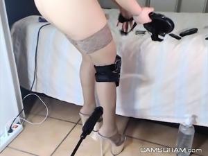 Attractive Amateur Blonde Got Fucked By Her Fucking Machine