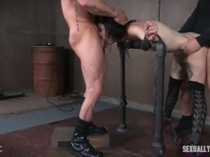 Watch this tattoed sub being given a hard lesson in being a good subservient....
