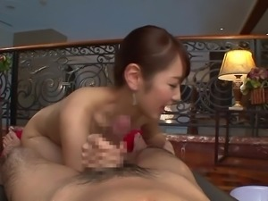 japanese masseuse lubes him up and strokes his cock