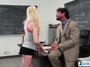 Blonde doll fucked hard by her teacher