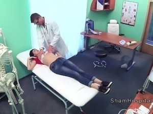 Patient gets cock in lap of doctor