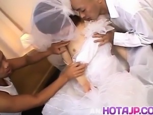 Morimoto Miku is undressed of bride outfit and fucked in