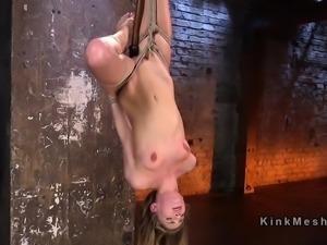 Upside down bondage for blonde slave