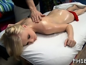 Lovely babe loves massage and big cock in her bawdy cleft