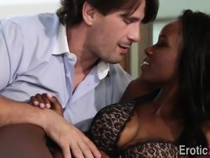 Ebony babe rides lover