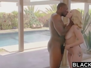 Voluptuous blond cheater squirts all over a BBC behind her BF's back