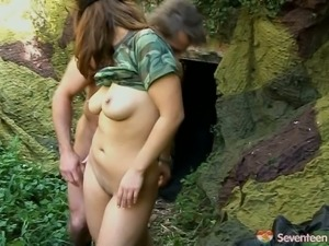 Military teen with killer boobs and booty fucks deep in woods