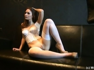 Solo scene with Magda Nuss, wearing stockings and high heels