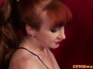 European babes wanking hard cock in cfnm