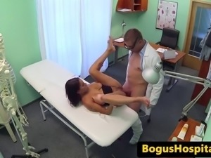 Bigtitted euro patient squirts while fingered