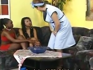 Latina made gets fisted and DP'ed by black and Asian girls