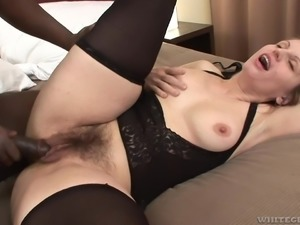 Her furry pussy became definitely wet, after she sucked Joachim's long black...