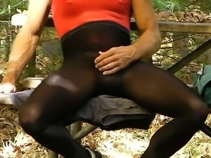 public wank leotard tights