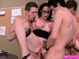 Gorgeous Teacher Chanel enjoys gang bang