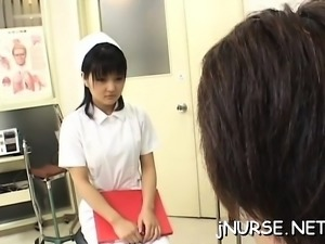 Dude gets a steaky footjob and his cock riden by nurse