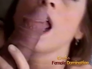 dominant mother makes her slave to take the dildo in the ass