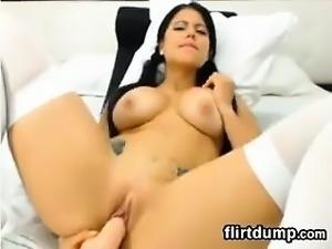 Big ass webcam slut in black stockings squirting like