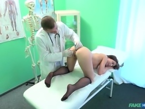 The doctor is going to check out her cunt and body, but really all he wants...