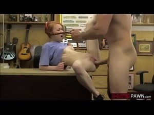 Bombshell redhead Dolly Little takes in Shawns big cock in his office