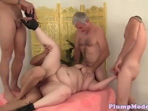 busty bbw banged by four dicks