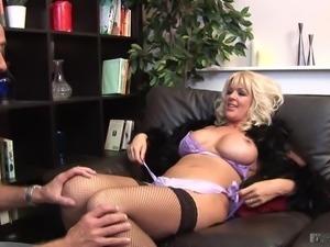 Blonde milf fucks in stockings