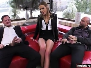 Lusty babe Alexis Crystal double stuffed by hard cocks